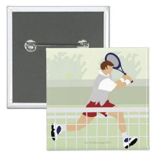 Man playing tennis 2 15 cm square badge
