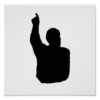 man pointing up shadow poster