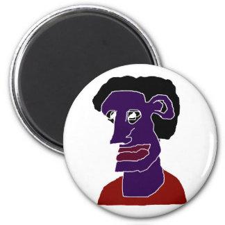 Man Portrait Caricature 6 Cm Round Magnet