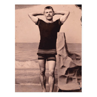 Man Poses In Swimsuit 1890 Postcard