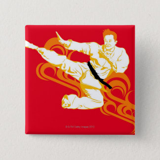 Man practicing martial arts, performing mid air 15 cm square badge