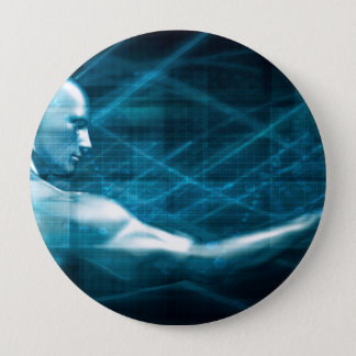 Man Presenting a Concept as a Template Background 10 Cm Round Badge