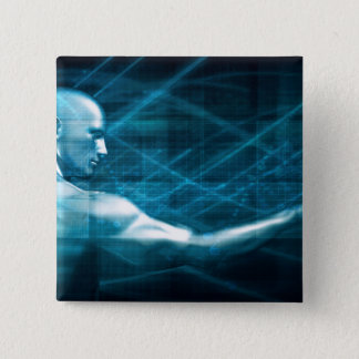 Man Presenting a Concept as a Template Background 15 Cm Square Badge