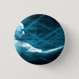 Man Presenting a Concept as a Template Background 3 Cm Round Badge