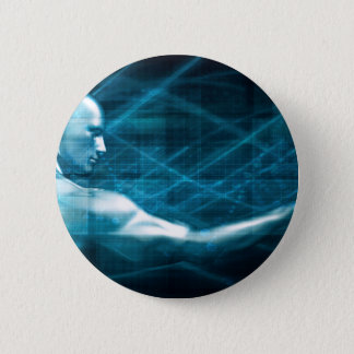 Man Presenting a Concept as a Template Background 6 Cm Round Badge