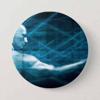 Man Presenting a Concept as a Template Background 7.5 Cm Round Badge