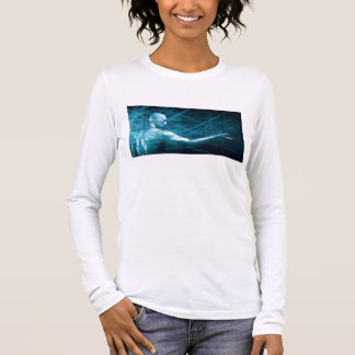 Man Presenting a Concept as a Template Background Long Sleeve T-Shirt