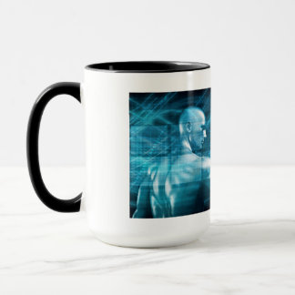 Man Presenting a Concept as a Template Background Mug