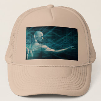Man Presenting a Concept as a Template Background Trucker Hat