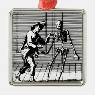 Man Proposing to a Skeleton Metal Ornament