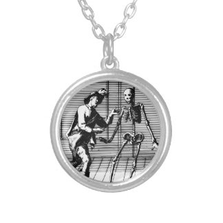 Man Proposing to a Skeleton Silver Plated Necklace