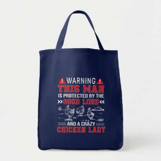 Man Protect Lord And Crazy Chicken Lady Tote Bag