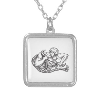 Man Pulling Bull By Horns Tattoo Silver Plated Necklace