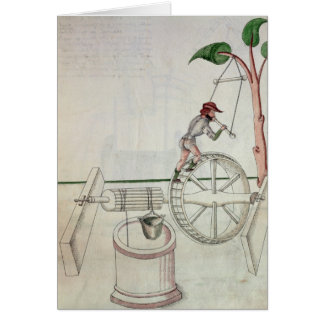 Man Putting into Motion a Wheel-Driven Well Greeting Card