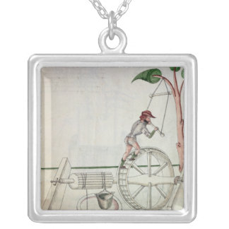 Man Putting into Motion a Wheel-Driven Well Square Pendant Necklace
