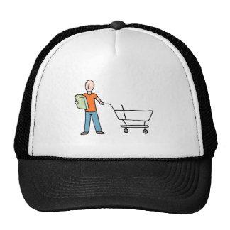 Man Reading Packaging Label Grocery Cart Cap