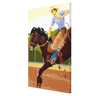 Man riding bucking bronco, side view gallery wrap canvas