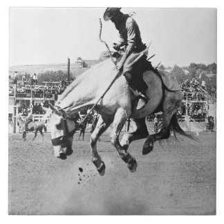 Man riding bucking horse in rodeo large square tile