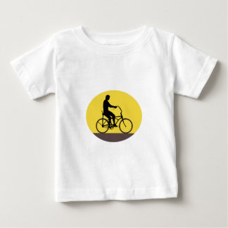 Man Riding Easy Rider Bicycle Silhouette Oval Retr Baby T-Shirt