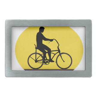 Man Riding Easy Rider Bicycle Silhouette Oval Retr Belt Buckle
