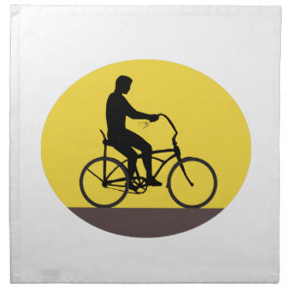 Man Riding Easy Rider Bicycle Silhouette Oval Retr Napkin