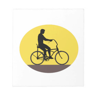 Man Riding Easy Rider Bicycle Silhouette Oval Retr Notepad