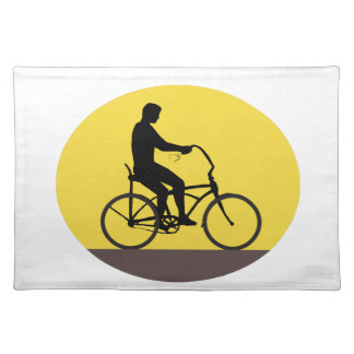 Man Riding Easy Rider Bicycle Silhouette Oval Retr Placemat