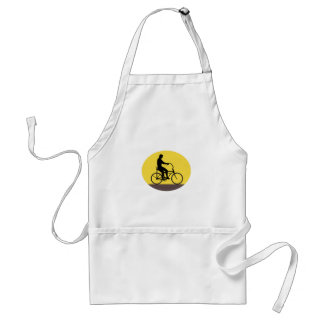 Man Riding Easy Rider Bicycle Silhouette Oval Retr Standard Apron