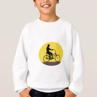 Man Riding Easy Rider Bicycle Silhouette Oval Retr Sweatshirt