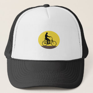 Man Riding Easy Rider Bicycle Silhouette Oval Retr Trucker Hat