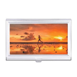 Man Running on Beach at Sunset Business Card Holder
