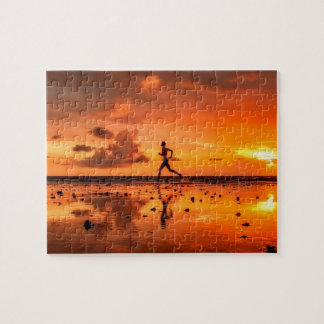 Man Running on Beach at Sunset Jigsaw Puzzle