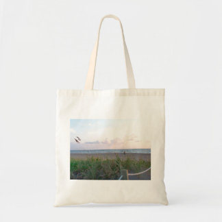 man running on beach painting style image tote bag