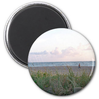 man running on beach painting style image fridge magnets