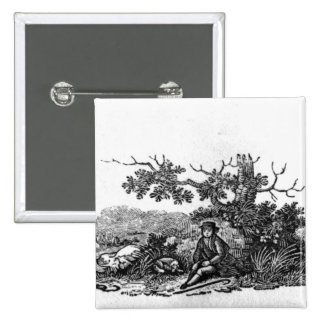 Man Seated by a Stunted Tree 15 Cm Square Badge