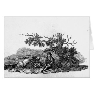 Man Seated by a Stunted Tree Card