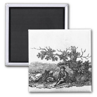 Man Seated by a Stunted Tree Square Magnet