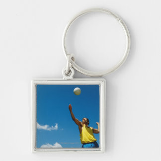 Man serving volleyball key ring