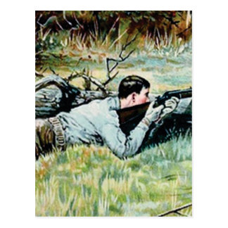 man shoot over a log postcard