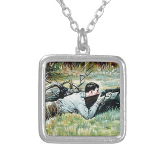 man shoot over a log silver plated necklace