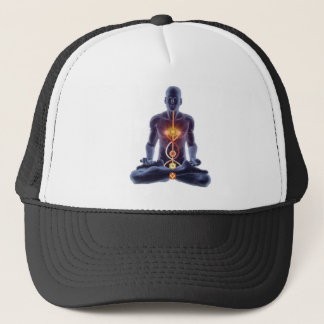 Man silhouette in enlightened yoga meditation pose trucker hat