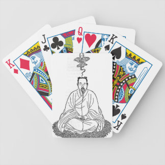 Man Sitting in Meditation Pose Bicycle Playing Cards