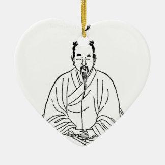 Man Sitting in Meditation Pose Ceramic Heart Decoration