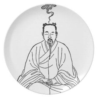 Man Sitting in Meditation Pose Plate
