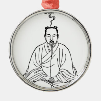 Man Sitting in Meditation Pose Silver-Colored Round Decoration