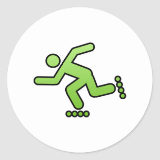 Man Skating Classic Round Sticker
