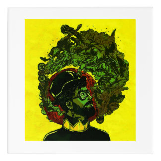 Man Smoking Pipe Overthinking Acrylic Wall Art