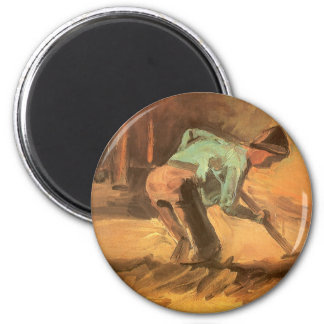 Man Stooping with Stick or Spade, Vincent van Gogh 6 Cm Round Magnet