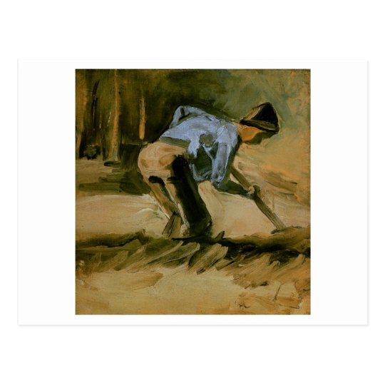 Man Stooping with Stick or Spade, Vincent van Gogh Postcard