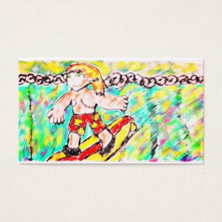 Man surfing art business card